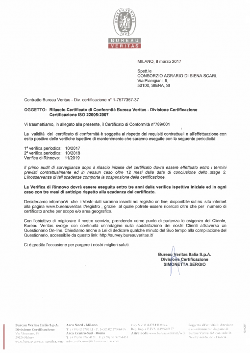 Certificazione Pasta UNI EN ISO 22005